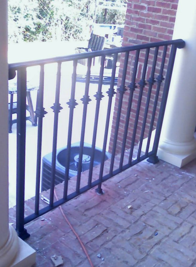 Solid Iron Railing With Cast Iron Collars And Wide Moulded Cap
