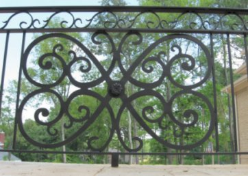 wrought iron railing with plasma cut center design