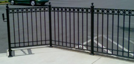 commercial wrought iron railing with ring design